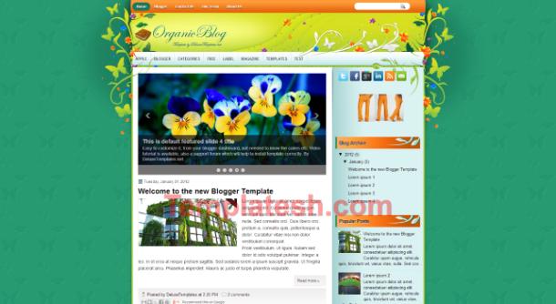 organic blog blogger template