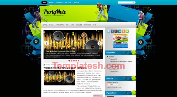 party note blogger template
