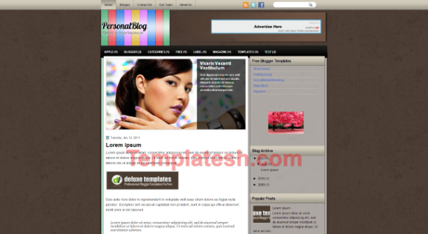 personal blog blogger template