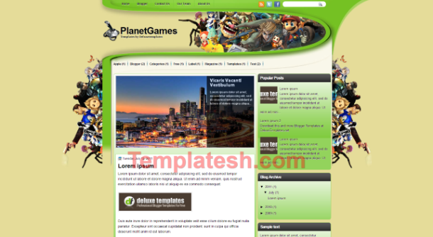 planet games blogger template