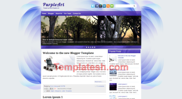 purple art blogger template