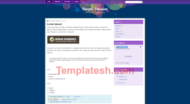 purple passion blogger template