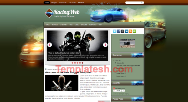 racing web blogger template