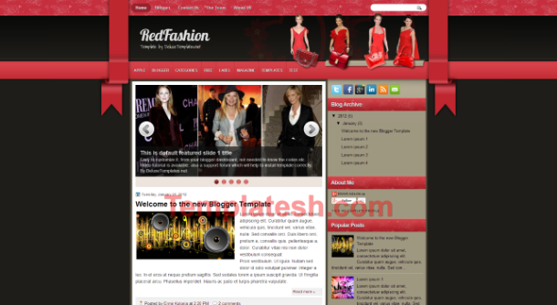 red fashion blogger template