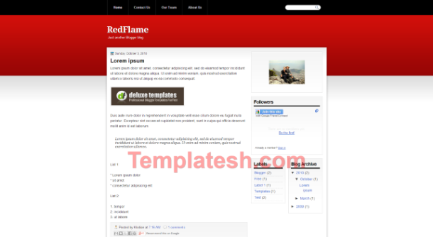 red flame blogger template