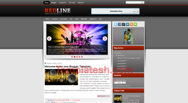 red line blogger template