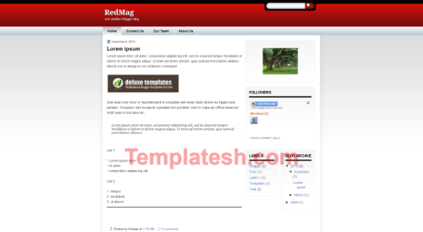 red mag blogger template