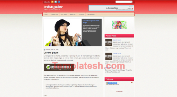 red magazine blogger template