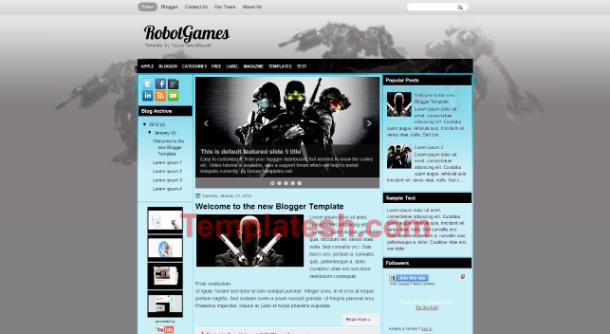 robot games blogger template