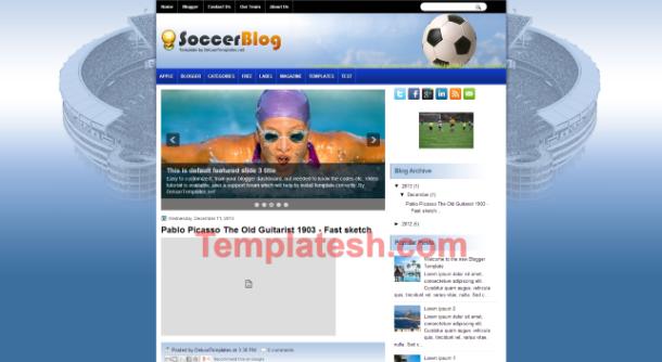 soccer blog blogger template
