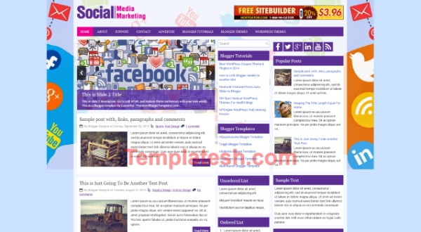 social media marketing blogger template