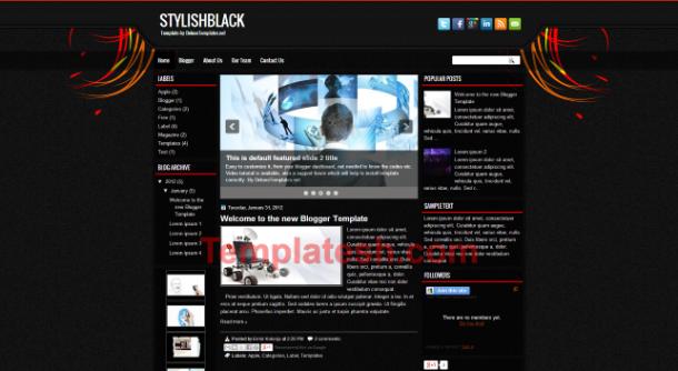stylish black blogger template