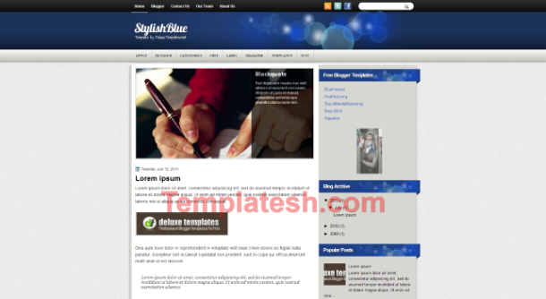 stylish blue blogger template
