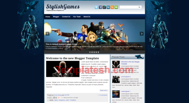 stylish games blogger template