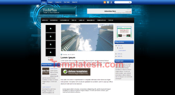 tech plus blogger template
