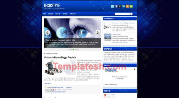 tech style blogger template