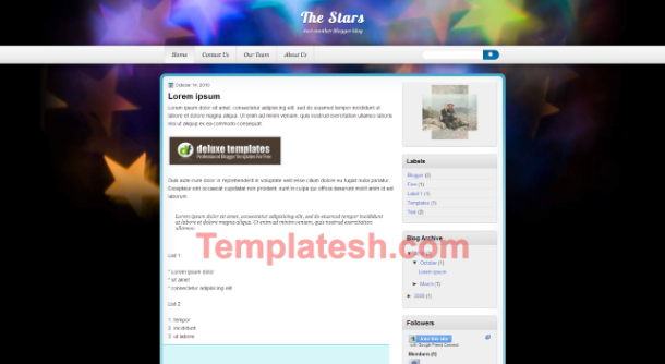 the stars blogger template
