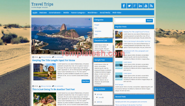 travel trips blogger template