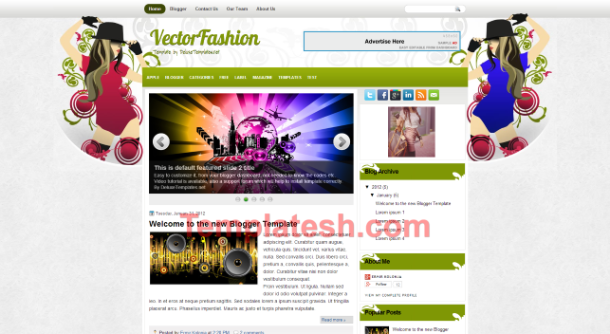 vector fashion blogger template
