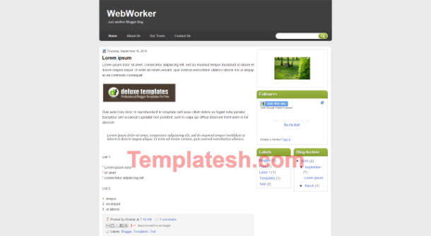 web worker blogger template