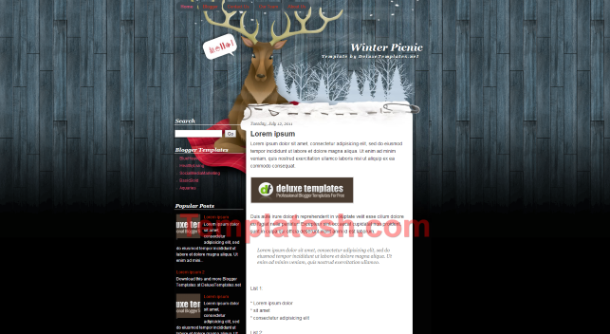 winter picnic blogger template