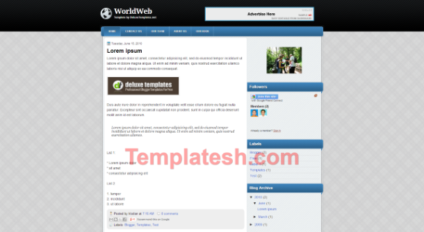 world web blogger template